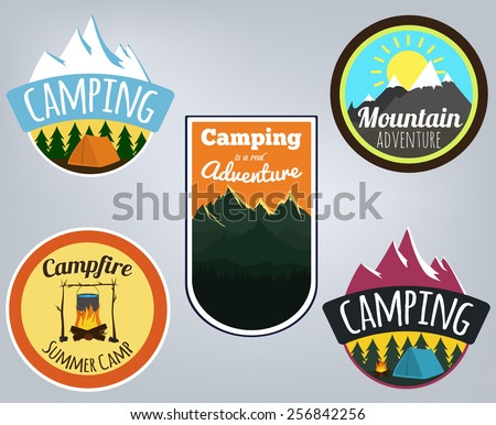 Vector illustration. Colorful set of camping emblems with mountains, trees, campfire with tent and beautiful sky - stock vector