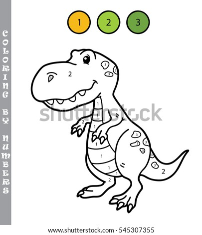 Vector Illustration Coloring By Numbers Educational Game With Cartoon Dino For Kids