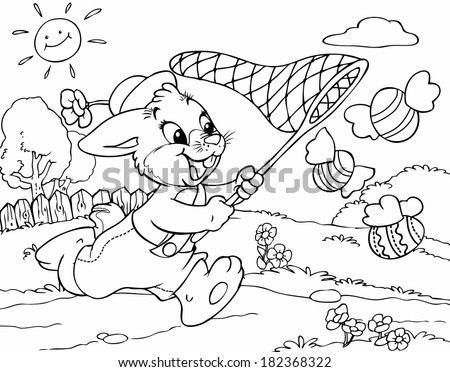 Vector illustration, coloring drawing, rabbit chasing flying eggs, cartoon concept.
