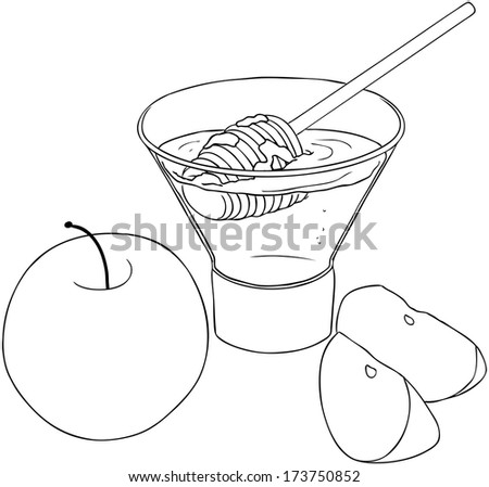 Vector illustration coloring page of honey and apple for Rosh Hashanah the Jewish new year.  - stock vector