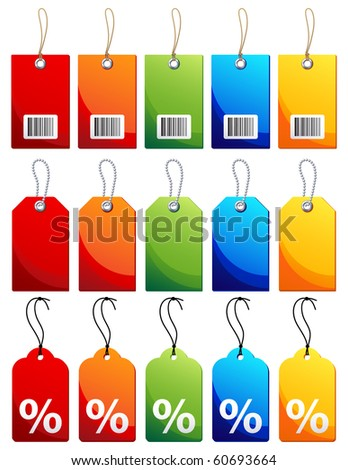 Vector illustration - Colourful label icon set - stock vector