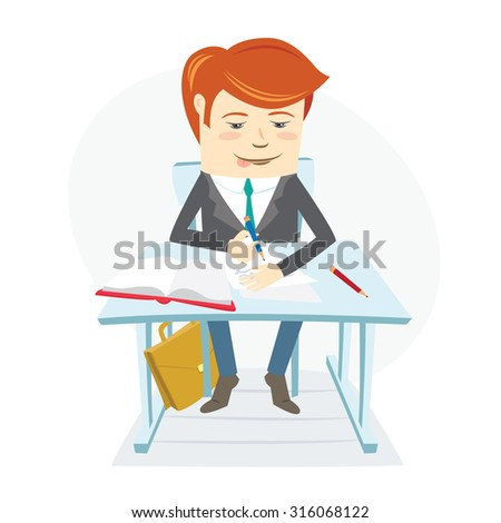 Vector illustration  Concentrated school student writing at the desk on his lessons in classroom. Flat style - stock vector