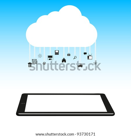 Vector illustration. Concept cloud with computer tablet. - stock vector