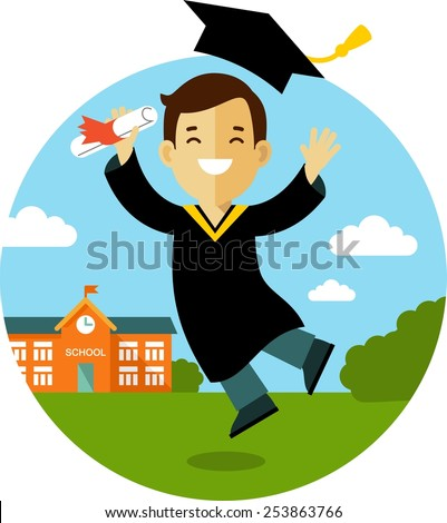 Vector illustration concept in flat style of young graduate student character - stock vector