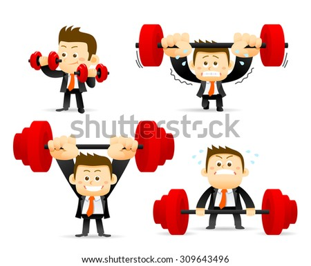 Vector illustration - concept of Businessman holding barbell