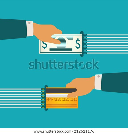 Vector illustration concept of cash and non-cash money circulation with bank credit card and banknote - stock vector