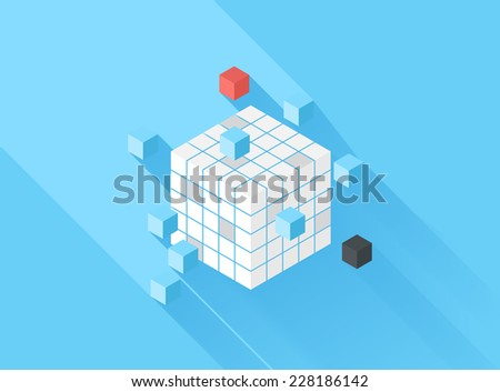 Vector illustration concept of defragmentation isolated on blue background with long shadow. - stock vector