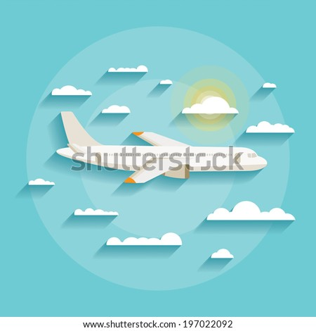 Vector illustration concept of detailed airplane flying through clouds in the blue sky in modern flat design. Isolated on stylish background. - stock vector