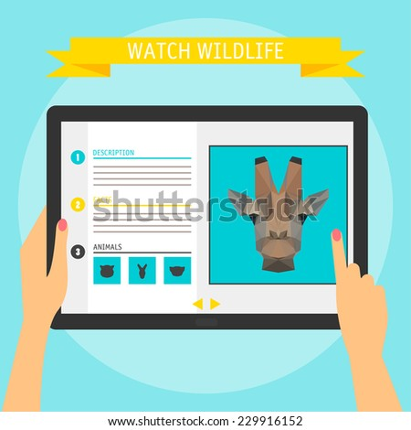 Vector illustration concept of hands holding modern digital tablet and pointing on a screen with website about wildlife. Flat design style, isolated on bright stylish color background with slogan - stock vector
