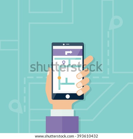 Vector illustration concept of man holding smartphone with mobile gps navigation on a screen and route with check-in symbols. - stock vector