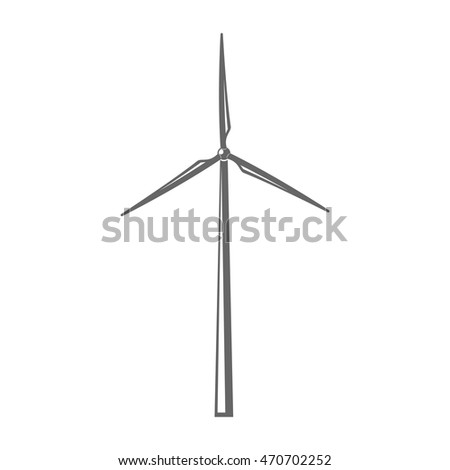 Vector illustration. Concept wind turbine. Isolated sign. Gray color.