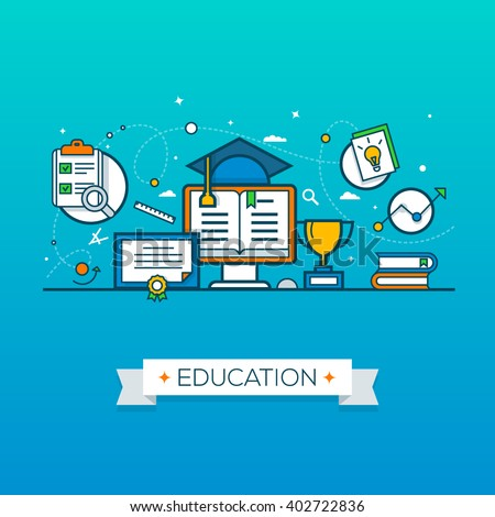 Vector illustration concepts of education and learning. Concepts for web banners and printed materials. - stock vector