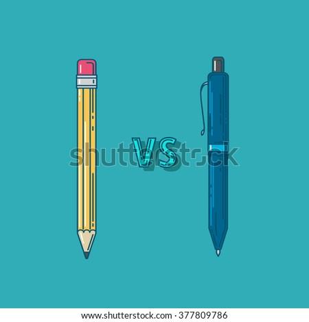 vector illustration. confrontation vs. pencil and pen. pencil and pen web. pencil and pen flat.  pencil and pen icon - stock vector