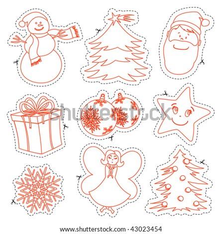 Vector illustration consists of a series of Christmas pictures to color and cut