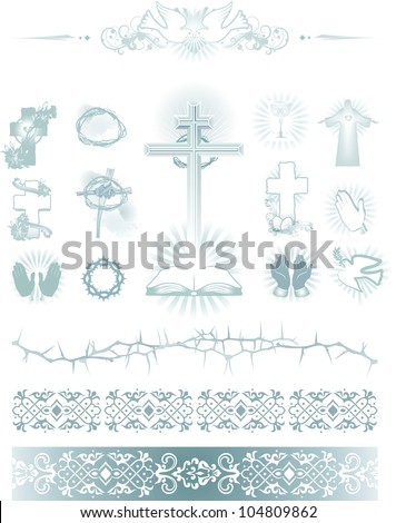 vector illustration contains the image of set vector images of religions symbol. icons and pattern - stock vector