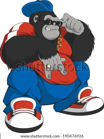 Vector illustration: cool gorilla in a tracksuit - stock vector