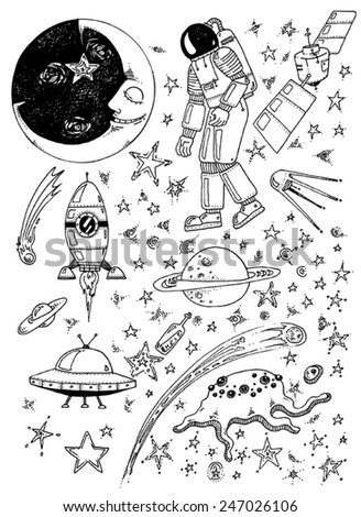 vector - illustration cosmos, universe, stars, moon, rocket, UFO, satellite, comet, planet - pattern, elements