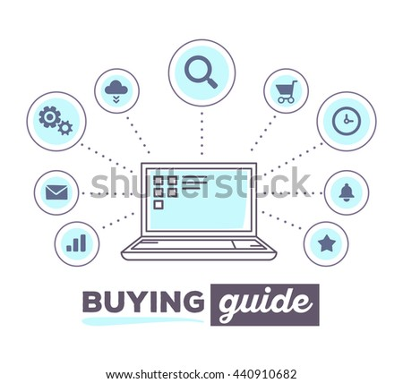 Vector illustration creative infographic of process shopping online with icons, text buying guide on white background. Laptop concept. Hand draw flat thin line art style design of laptop for shopping - stock vector