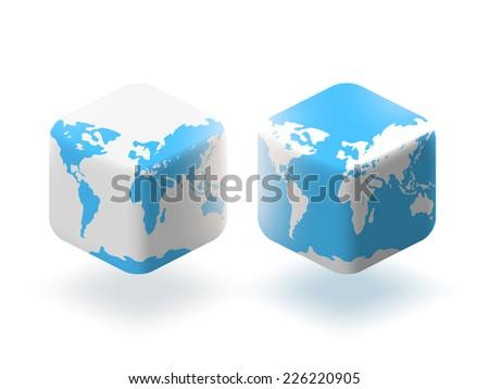Vector illustration cube style globe world stock vector 226220905 cube style globe world map sciox Gallery