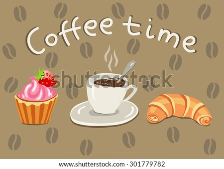 vector illustration cup of coffee, croissants and pies on a light brown background with coffee beans - stock vector