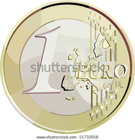 vector illustration currency 1 euro coin. without gradient, mesh and blend. - stock vector