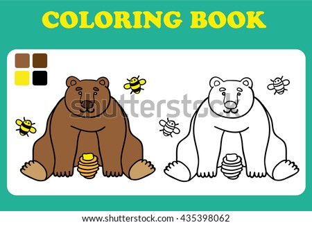 Vector illustration, cute bear with bees and honey, card concept, white background coloring book for children, coloring book pages