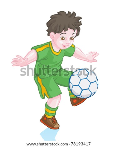 Vector illustration, cute boy playing football, cartoon concept, white background. - stock vector