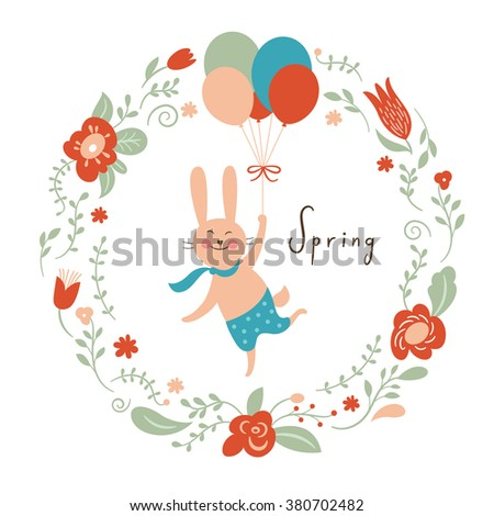 Vector illustration, cute bunny with balloons - stock vector