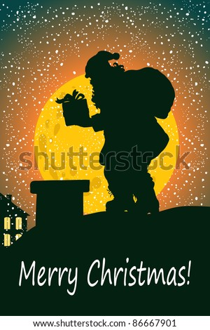 Vector illustration, cute Christmas greeting, card concept. - stock vector