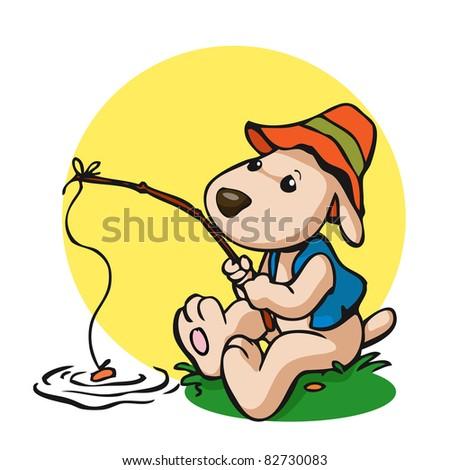 Vector illustration, cute dog fishing, card concept. - stock vector