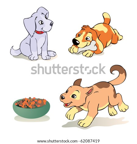 vector illustration, cute dogs in action, cartoon concept, white background - stock vector