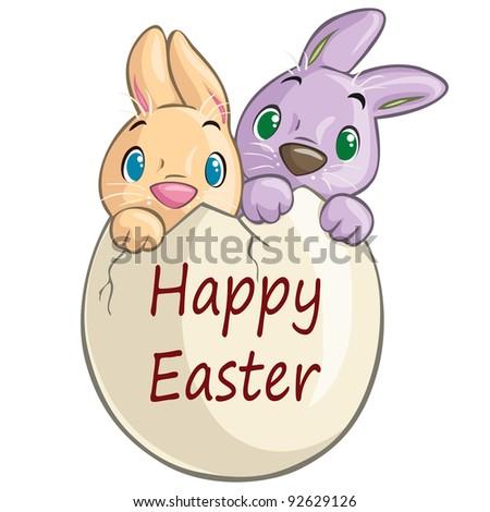 cute Easter bunnies in...