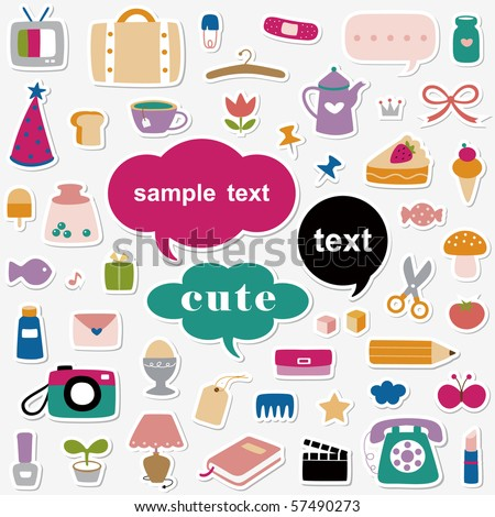 Vector Illustration:cute elements sticker collection - stock vector