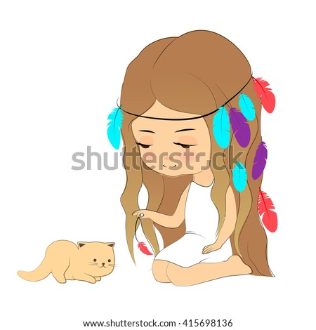 Vector illustration, cute girl and kitten, cartoon hand drawn style. Young girl with feather headdress playing with kitten. Design element for print, cards, poster, cloth. - stock vector