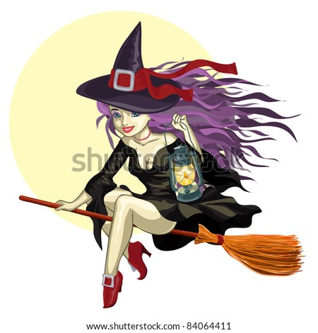 Vector illustration, cute Halloween witch, cartoon concept, white background. - stock vector