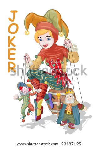 Vector illustration, cute harlequin with puppets, card concept, white background. - stock vector