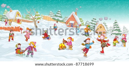Vector illustration, cute kids playing winter games, card concept. - stock vector