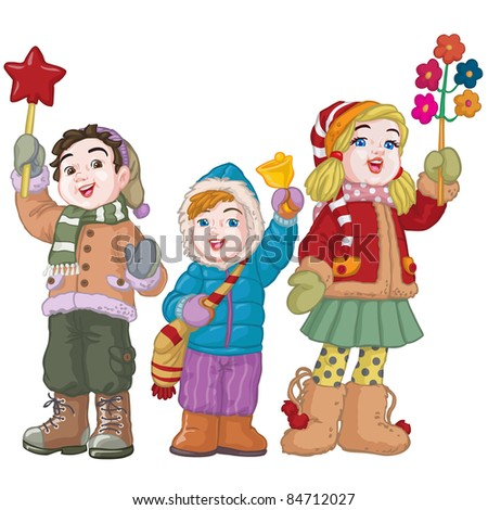 Vector illustration, cute kids singing carols, cartoon concept, white background.