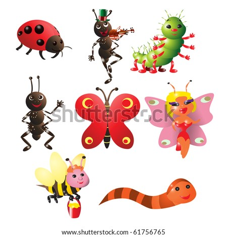 vector illustration, cute little bugs, cartoon concept, white background