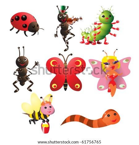 vector illustration, cute little bugs, cartoon concept, white background - stock vector