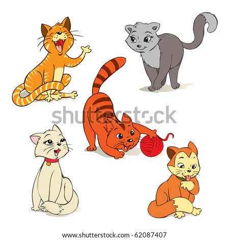 vector illustration, cute little cats, cartoon concept, white background. - stock vector