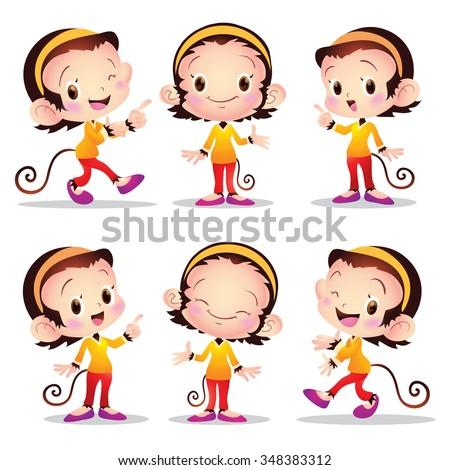 Vector illustration cute monkey cartoon female character many actions. - stock vector