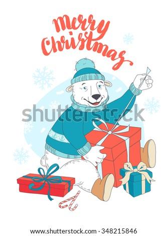 Vector illustration Cute polar bear opening Christmas gifts  - stock vector