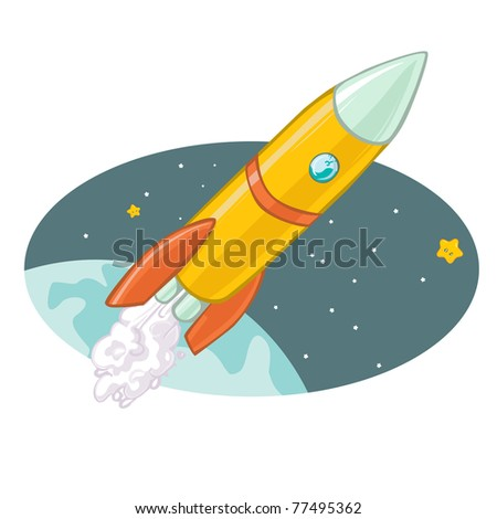 Vector illustration, cute rocket, cartoon concept. - stock vector