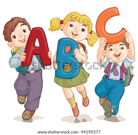 Vector illustration, cute school kids with letters, card concept, white background. - stock vector