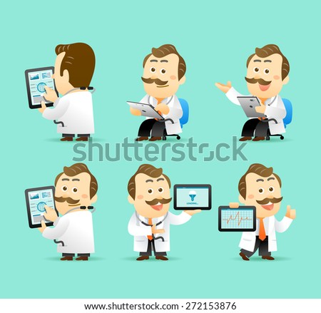 Vector illustration Cute Senior Doctor Character