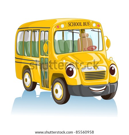 Vector illustration, cute smiling school bus, cartoon concept, white background.