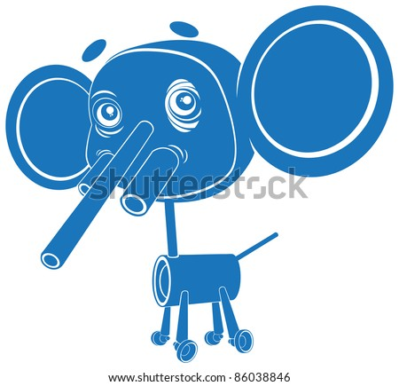 Vector illustration, cute toy elephant, card concept, white background.