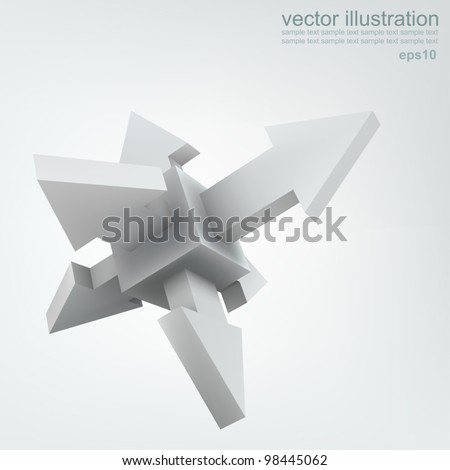 Vector illustration 3d cube with arrows, logo design - stock vector