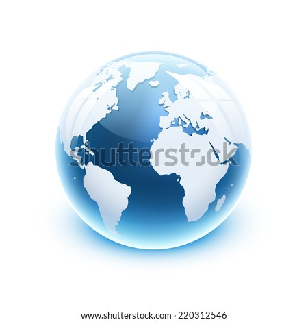 Vector illustration 3d glossy glass globe icon of the world. - stock vector